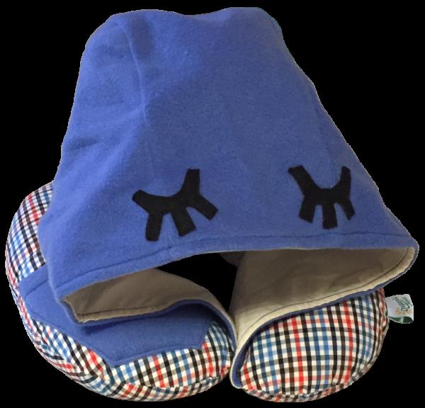 Подушка для путешествий Organic Toys с капюшоном синяя (20102)