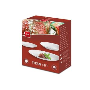 Набор столовой посуды Cegeco Cok Titan 18 предметов белый (1-000302)