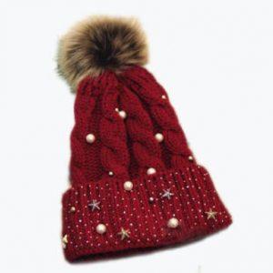 Зимняя женская шапка со стразами красная (333345)