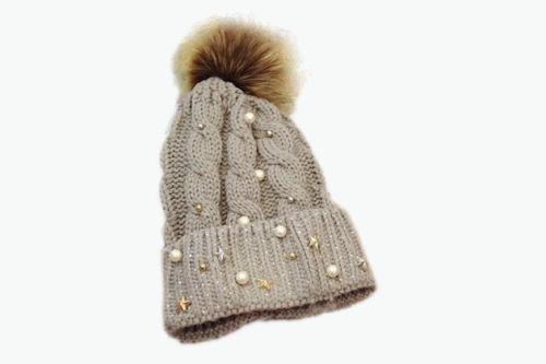 Зимняя женская шапка со стразами серая 333346