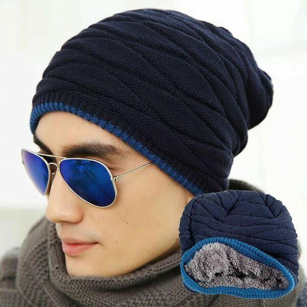 Зимняя мужская шапка Youth Long с утеплителем синяя (333354)