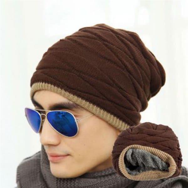 Зимняя мужская шапка Youth Long с утеплителем кофейная (333355)