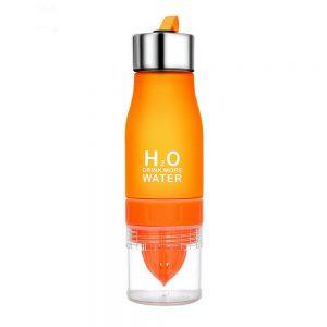 Спортивная туристическая бутылка для воды H2O с соковыжималкой 650 мл оранжевая