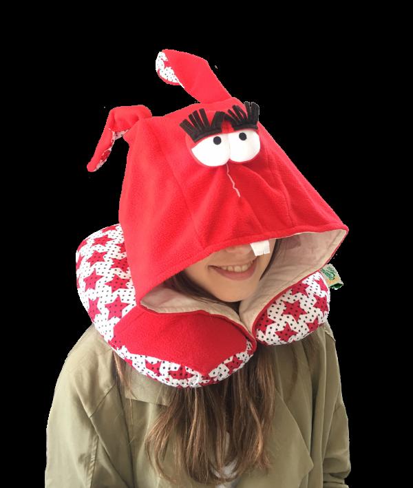 Подушка для путешествий Organic Toys с капюшоном красная (20302)