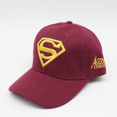 Кепка бейсболка Супермен (Superman) 55-61 см темно-красная хлопок (333397)